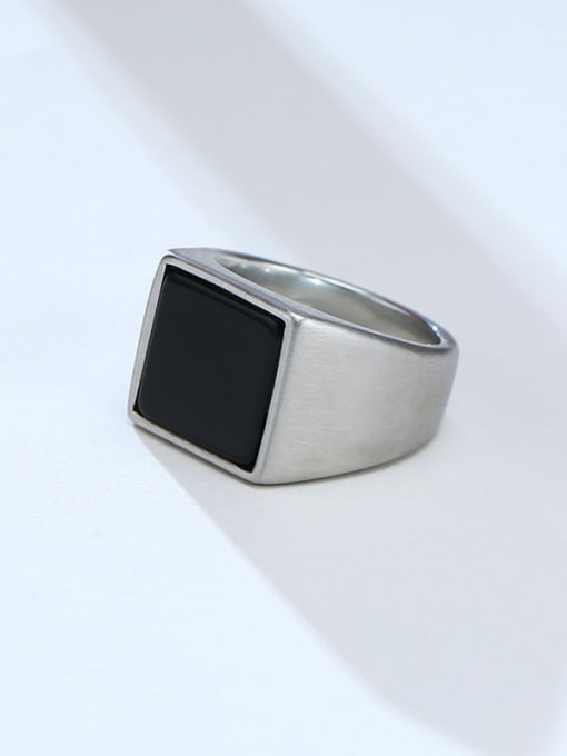 CONG Stainless steel Acrylic Geometric Vintage Band Ring 0