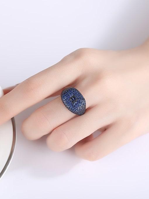 BLING SU Copper Cubic Zirconia Geometric Luxury Statement Ring 1