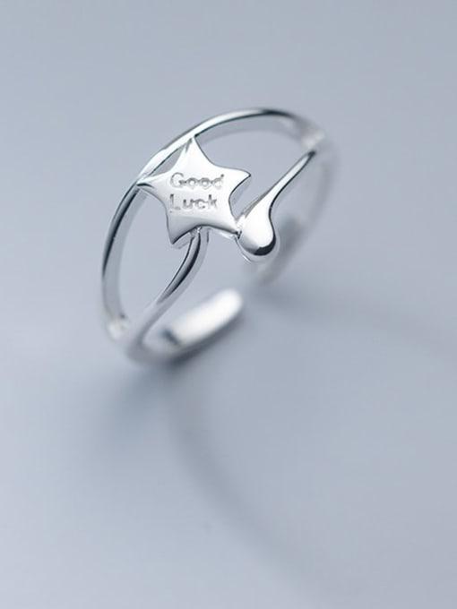 Rosh 925 Sterling Silver Star Minimalist Band Ring 0