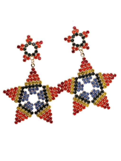 Luxu Brass Rhinestone Star Ethnic Drop Earring