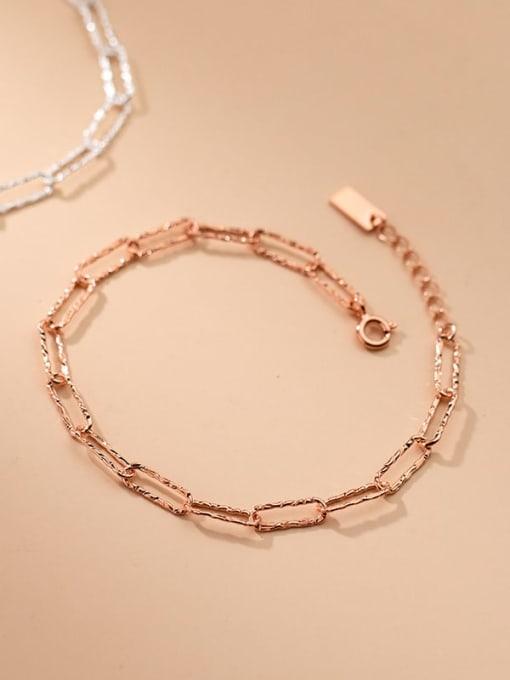 Rosh 925 Sterling Silver Geometric Minimalist Link Bracelet 0