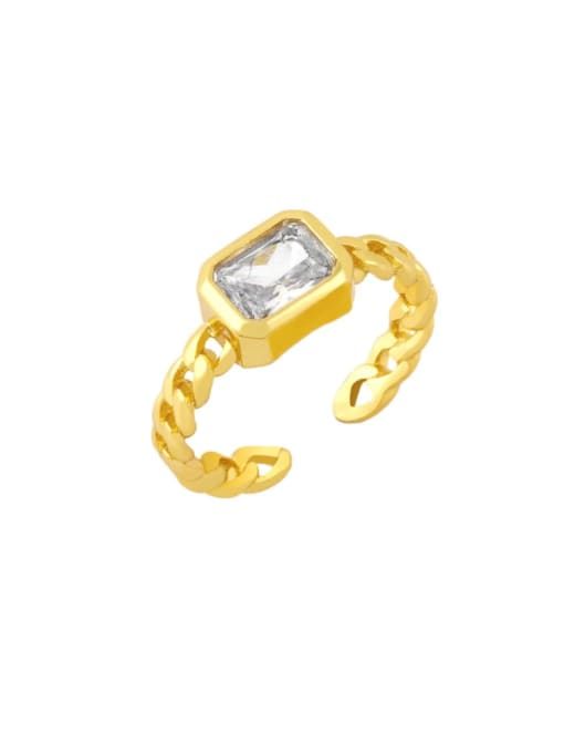 white Brass Cubic Zirconia Geometric Vintage Band Ring