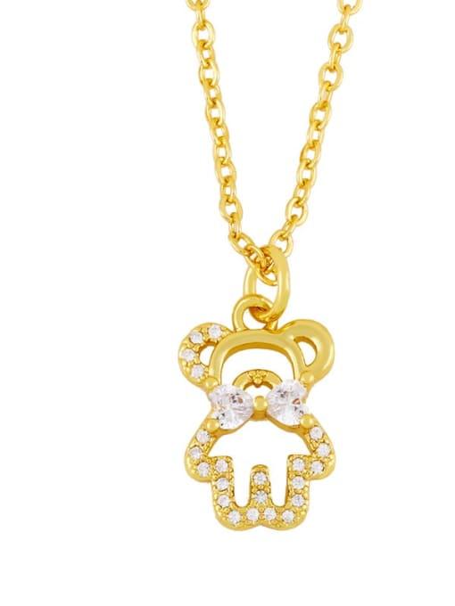 B Brass Cubic Zirconia  Hollow Bear Minimalist Necklace