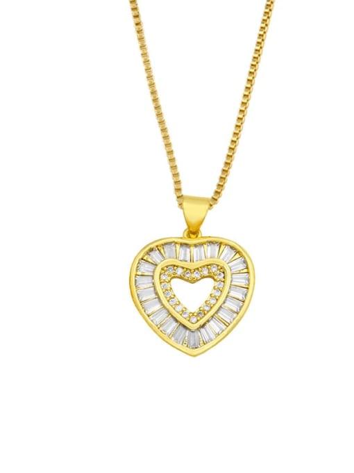 A Brass Cubic Zirconia Heart Minimalist Necklace