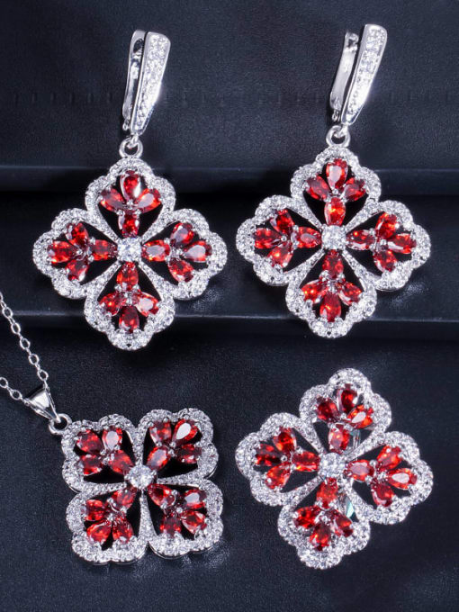 Red ring size 9 Brass Cubic Zirconia Luxury Flower  Earring Ring and Necklace Set