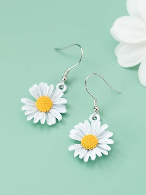 Rosh 925 Sterling Silver Resin Flower Minimalist Hook Earring 1