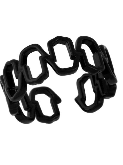 black Brass Enamel Hollow Geometric Minimalist Band Ring
