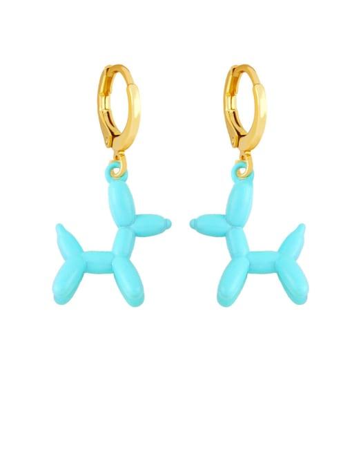 Light blue Brass Enamel Dog Cute Huggie Earring