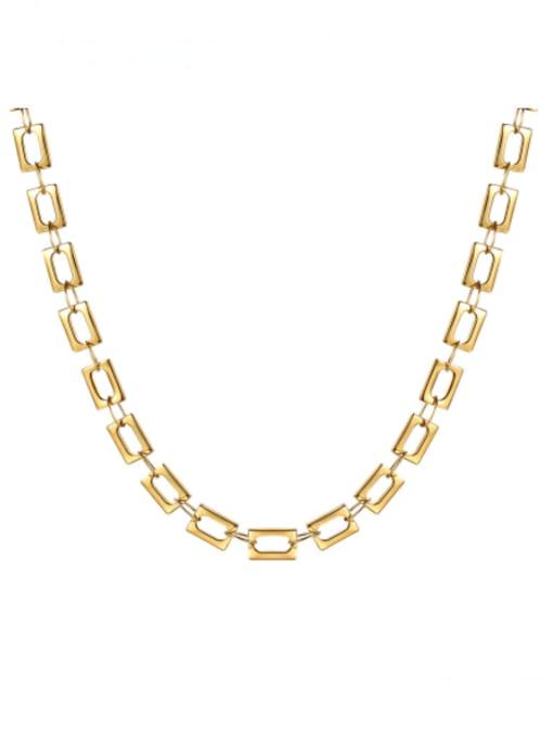 CONG Titanium Steel Hollow Geometric Minimalist Necklace 0