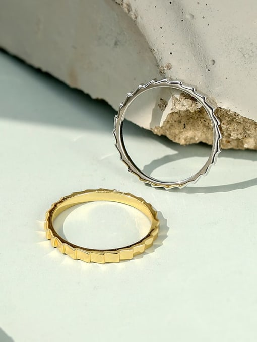 CHARME Brass Smooth  Geometric Vintage Band Ring 1