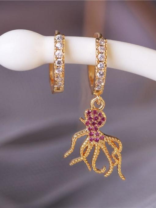 DUDU Brass Cubic Zirconia Octopus Vintage Huggie Earring 1