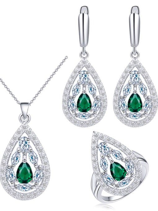 L.WIN Drop Brass Cubic Zirconia Luxury Water  Earring and Necklace Set