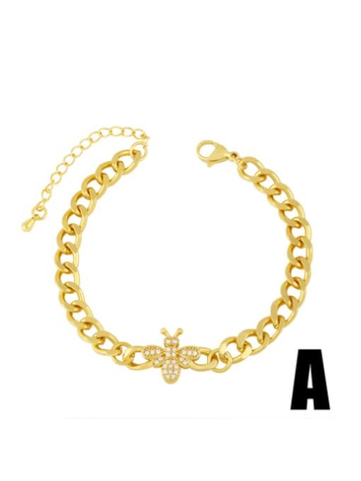 A Brass Cubic Zirconia Butterfly Vintage Hollow Chain  Bracelet