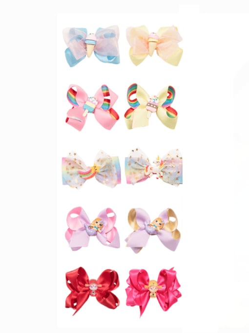 Jare Alloy  Fabric Cute Bowknot Multi Color Hair Barrette 3