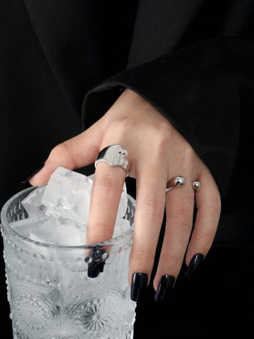 DAKA 925 Sterling Silver Water Drop Minimalist Band Ring 2