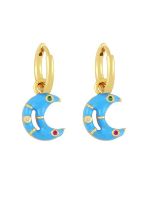 blue Brass Enamel Moon Hip Hop Huggie Earring