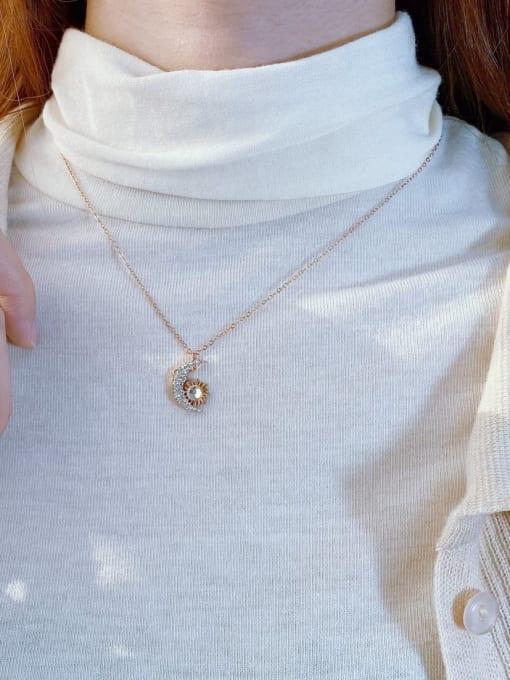 Open Sky Titanium Steel Cubic Zirconia Geometric Vintage Necklace 1