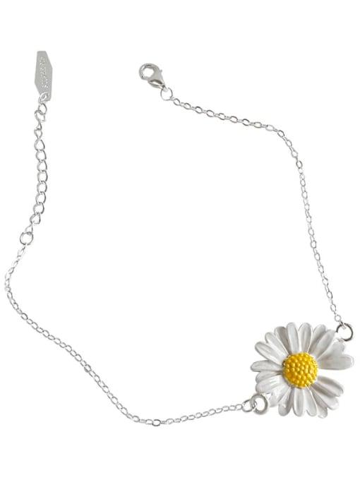 DAKA 925 Sterling Silver Enamel Flower Minimalist Link Bracelet 3