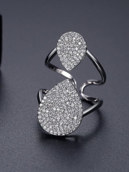 BLING SU Copper Cubic Zirconia Geometric Luxury Band Ring 2