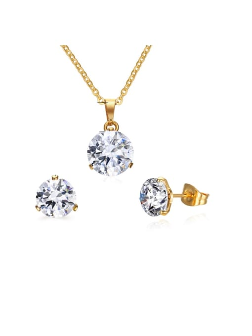 CONG Stainless steel Cubic Zirconia Minimalist Round  Earring and Necklace Set