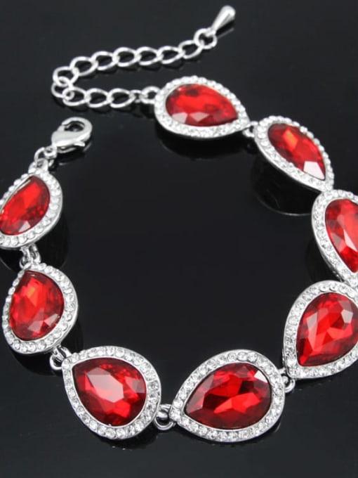 Silver Red Brass Glass Stone Water Drop Luxury Bracelet