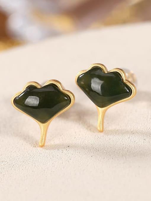 DEER 925 Sterling Silver Jade Leaf Vintage Stud Earring 0
