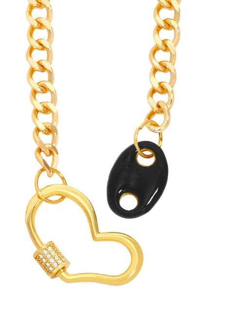 CC Brass Enamel Heart Hip Hop Hollow Chain Necklace 1