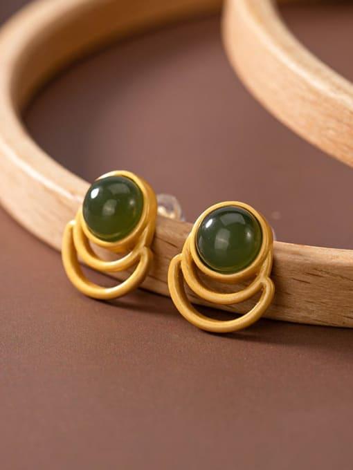 Blue jade (a pair) 925 Sterling Silver Jade Geometric Vintage Stud Earring