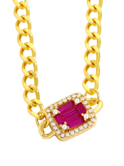 red Brass Cubic Zirconia Geometric Vintage Necklace