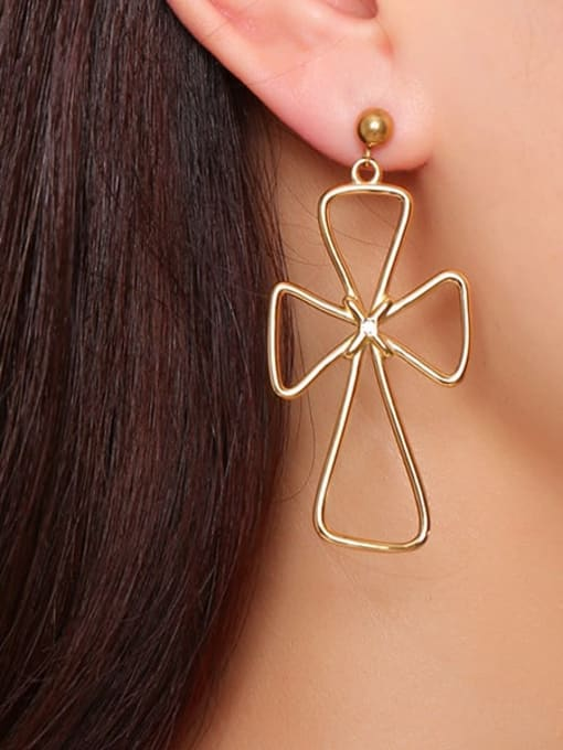 CONG Stainless steel Hollow Cross Minimalist Drop Earring 1