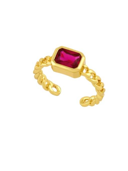 CC Brass Cubic Zirconia Geometric Vintage Band Ring 2