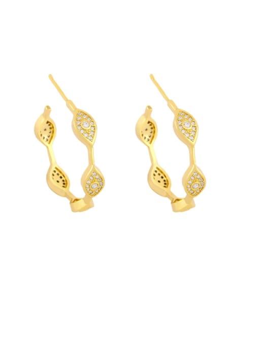 eye Brass Cubic Zirconia Cross Vintage Stud Earring