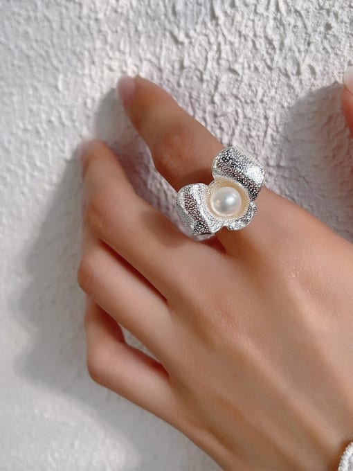 Boomer Cat 925 Sterling Silver Imitation Pearl Flower Vintage Band Ring 1