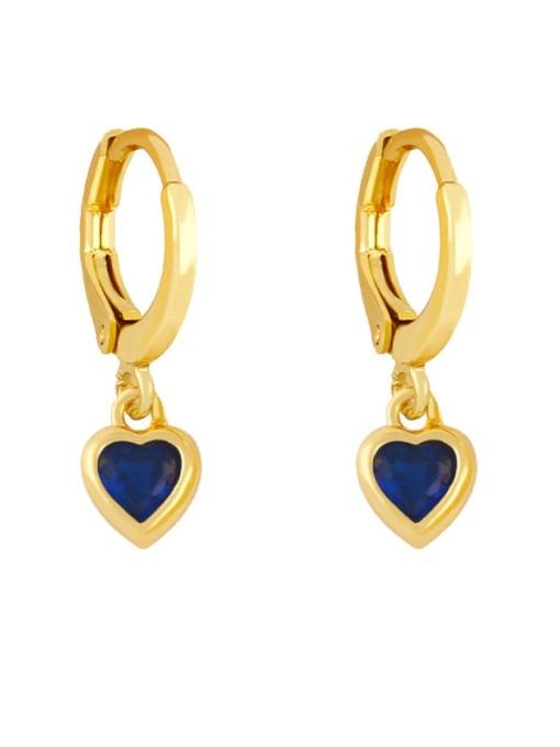 blue Brass Cubic Zirconia Heart Minimalist Huggie Earring