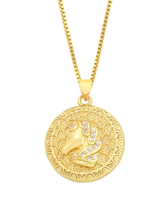 B Brass Cubic Zirconia Elephant Hip Hop Necklace