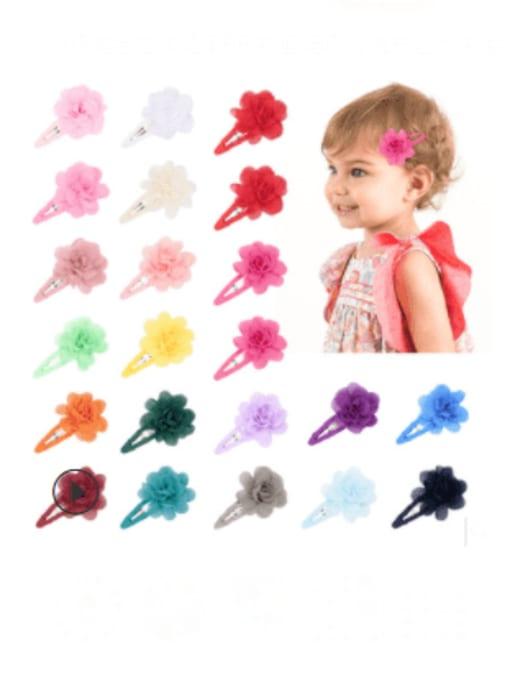 YOKI KIDS Alloy Yarn Minimalist Flower  Multi Color Hair Barrette 2