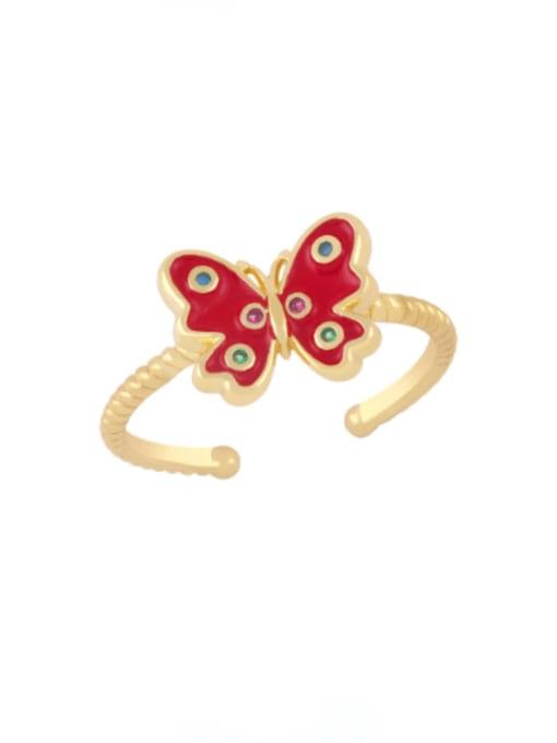 red Brass Enamel Butterfly Minimalist Band Ring
