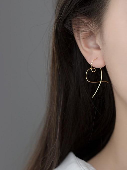 Rosh 925 Sterling Silver Heart Minimalist Hoop Earring