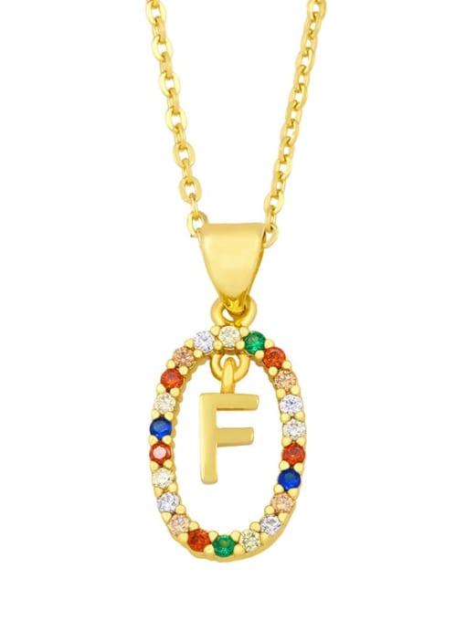 F Brass Cubic Zirconia Letter Vintage Oval Pendant Necklace