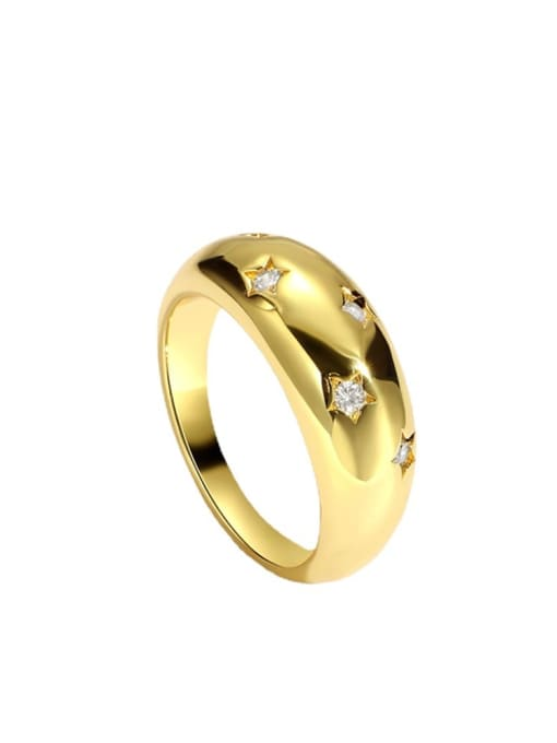 CHARME Brass Rhinestone Geometric Vintage Band Ring 2