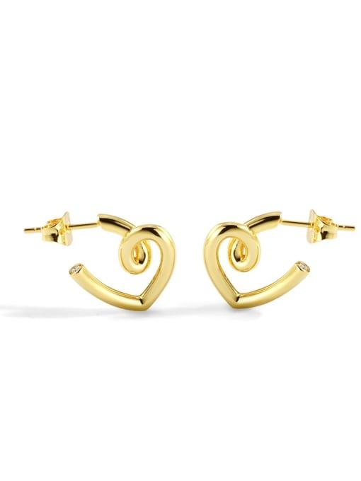 CHARME Brass Smooth Heart Minimalist Stud Earring 0