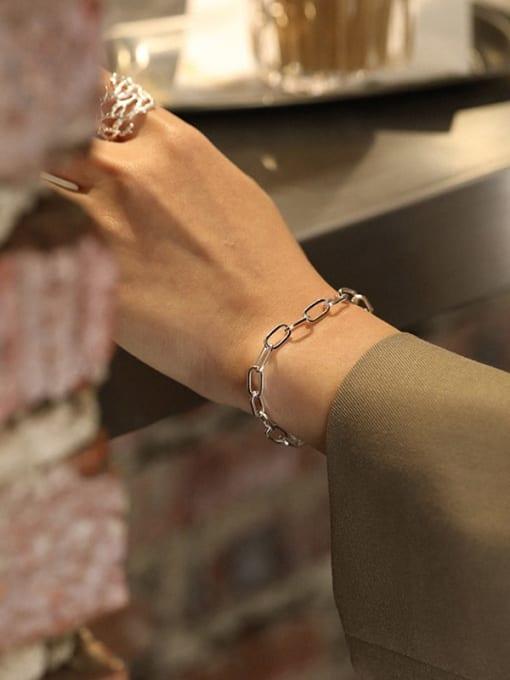 DAKA 925 Sterling Silver Hollow Geometric Chain Vintage Link Bracelet 2