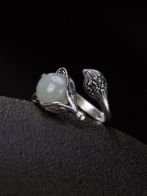 DEER 925 Sterling Silver Jade Fox Vintage Band Ring 1