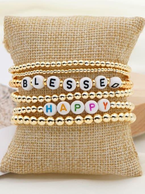 QT S200052 Stainless steel MGB Bead Letter Bohemia Beaded Bracelet