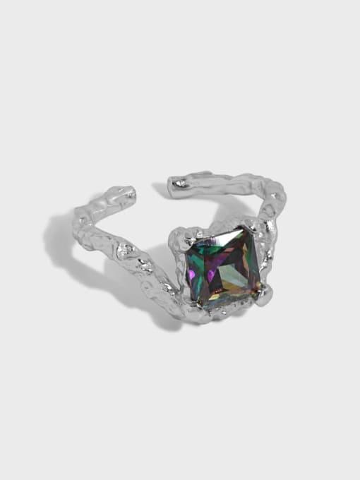 DAKA 925 Sterling Silver Glass Stone Geometric Vintage Band Ring