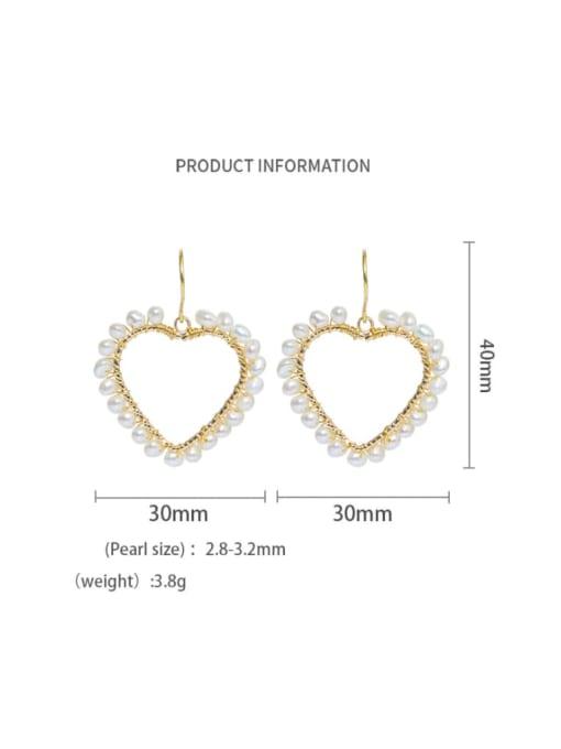 Earrings Brass Freshwater Pearl Minimalist Heart  Earring and Necklace Set