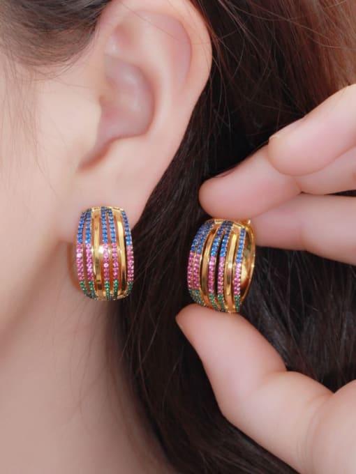 L.WIN Brass Cubic Zirconia Geometric Luxury Stud Earring 1