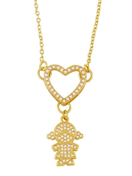 girl Brass Cubic Zirconia Heart Hip Hop Necklace