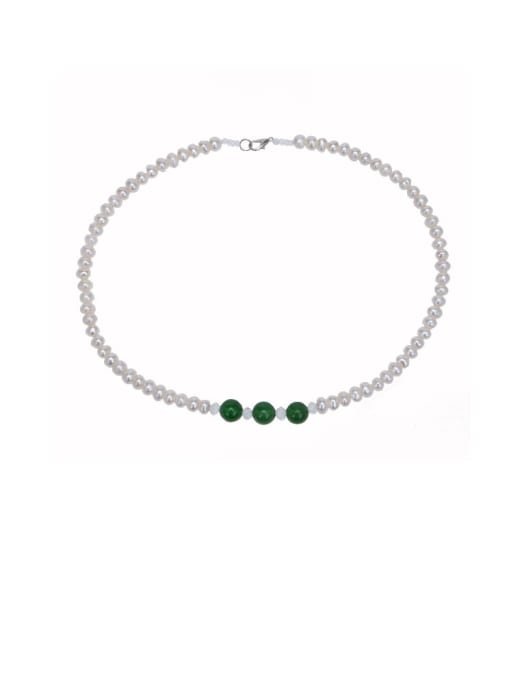 RAIN Brass Freshwater Pearl Geometric Minimalist Necklace