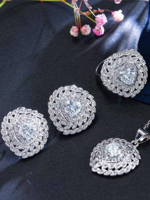 White Ring Size 9 Brass Cubic Zirconia Luxury Heart Earring Ring and Necklace Set